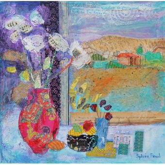 Hall - Cuadro - Flowers in the Window 2014, acrylic.paper collage- - Paul, Sylvia