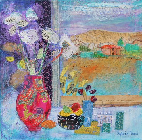 cuadros-modernos - Cuadro - Flowers in the Window 2014, acrylic.paper collage- - Paul, Sylvia