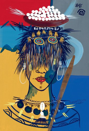 cuadros-etnicos-y-oriente - Cuadro -African Beauty 3, 2005- - Perrin, Oglafa Ebitari