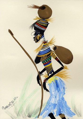 cuadros-etnicos-y-oriente - Cuadro -Going for a hunt 1, 2008- - Perrin, Oglafa Ebitari