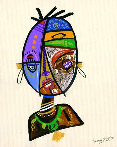 cuadros-etnicos-y-oriente - Cuadro -Just me, 2013- - Perrin, Oglafa Ebitari