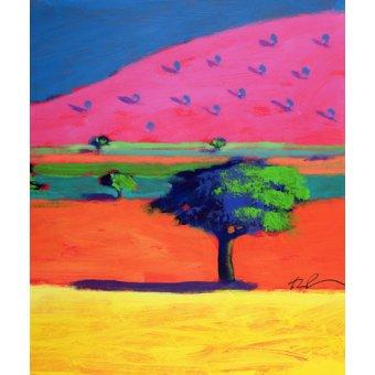 cuadros de paisajes - Cuadro - Pink Hill (acrylic on card) - - Powis, Paul