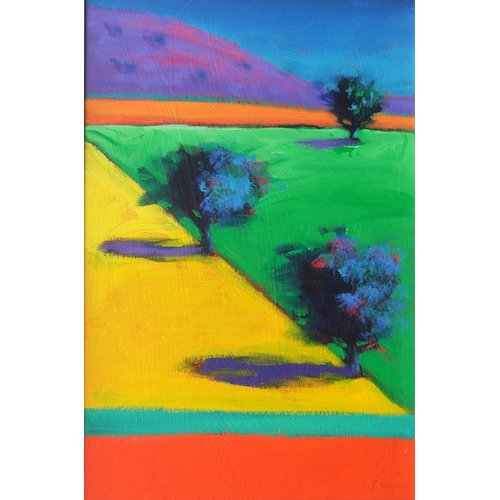 Cuadro - Yellow Field (acrylic on board)-