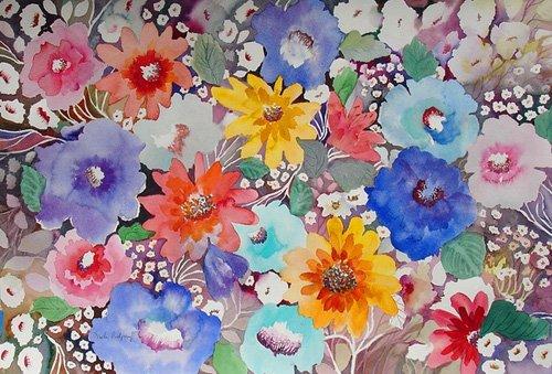hall - Cuadro - floral quilt- - Pushparaj, Neela