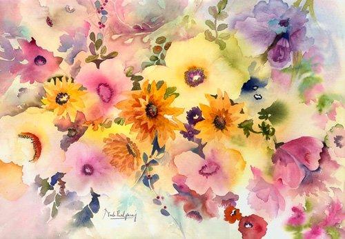 hall - Cuadro - golden blossoms- - Pushparaj, Neela