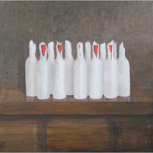 Cuadro -Bottles in paper, 2005-