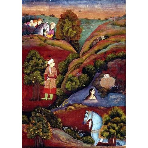 cuadros etnicos y oriente - Cuadro -Mujer bañandose en el rio-