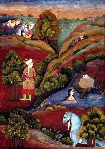 cuadros-etnicos-y-oriente - Cuadro -Mujer bañandose en el rio- - _Anónimo Persa