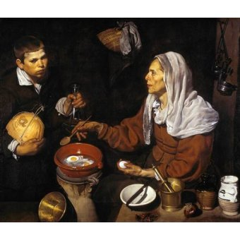 cuadros de bodegones - Cuadro -Vieja friendo huevos- - Velazquez, Diego de Silva