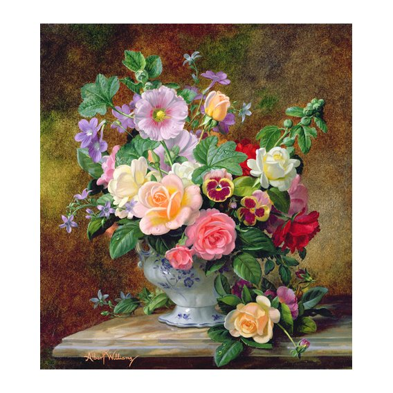 Cuadro - Roses, pansies and other flowers in a vase (oil on canvas) -