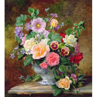 cuadros de flores - Cuadro - Roses, pansies and other flowers in a vase (oil on canvas) - - Williams, Albert