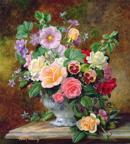 cuadros-de-flores - Cuadro - Roses, pansies and other flowers in a vase (oil on canvas) - - Williams, Albert