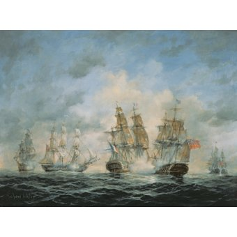 cuadros de marinas - Cuadro - 19th Century Naval Engagement in Home Waters - - Willis, RIchard