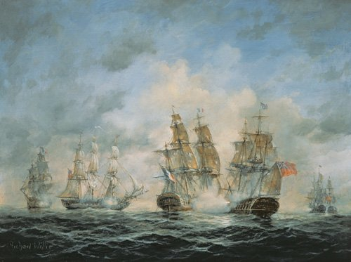 cuadros-de-marinas - Cuadro - 19th Century Naval Engagement in Home Waters - - Willis, RIchard