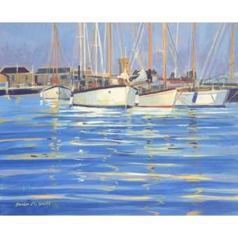 cuadros de marinas - Cuadro - Isle of Wight Old Gaffers, 2000 (oil on board) - - Wright, Jennifer