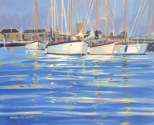 cuadros-de-marinas - Cuadro - Isle of Wight Old Gaffers, 2000 (oil on board) - - Wright, Jennifer