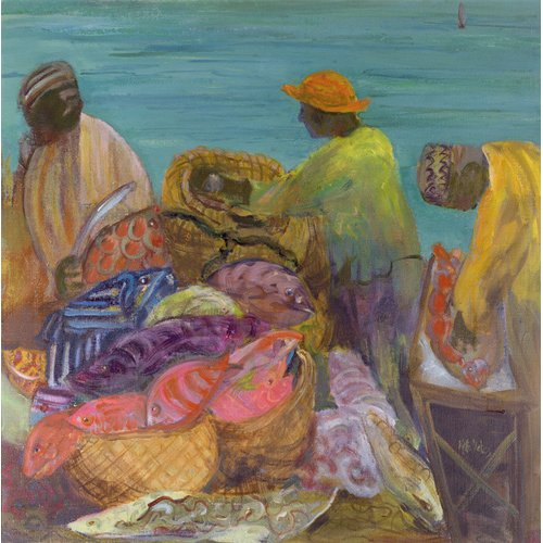 Cuadro - Sorting the Catch, Zanzibar (oil on canvas) -