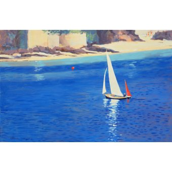 cuadros de marinas - Cuadro - Salcombe - Yawl near Millbay, 1999 (oil on board) - - Wright, Jennifer
