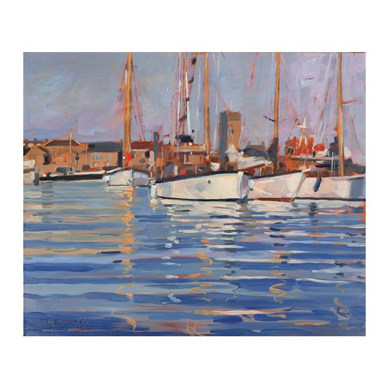 Cuadro - Isle of Wight - Old Gaffers, 2000 (oil on board) -
