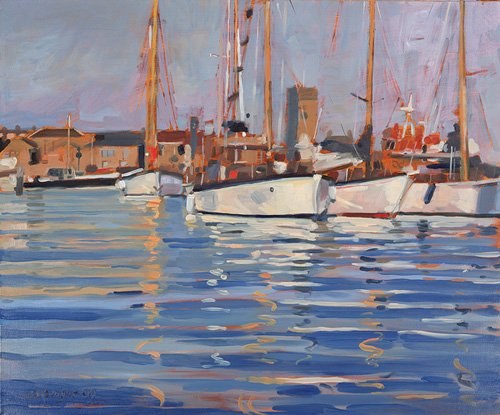 cuadros-de-marinas - Cuadro - Isle of Wight - Old Gaffers, 2000 (oil on board) - - Wright, Jennifer