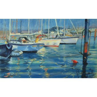 cuadros de marinas - Cuadro - Isle of Wight - Yacht Reflections, 2010 (oil on board)  - - Wright, Jennifer