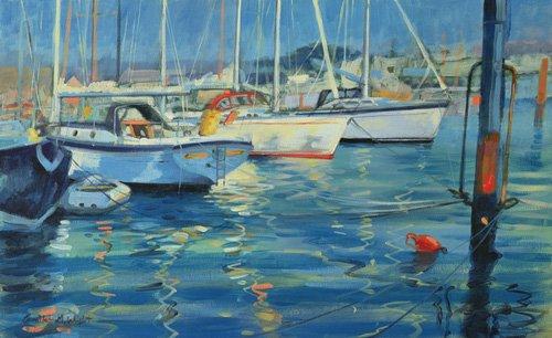 cuadros-de-marinas - Cuadro - Isle of Wight - Yacht Reflections, 2010 (oil on board)  - - Wright, Jennifer
