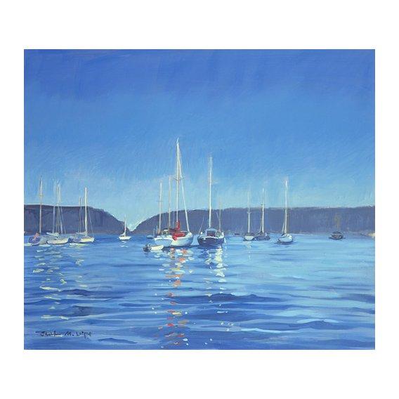 Cuadro -  Salcombe - Yachts - Twilight (oil on canvas)  -