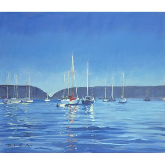cuadros de marinas - Cuadro -  Salcombe - Yachts - Twilight (oil on canvas)  - - Wright, Jennifer