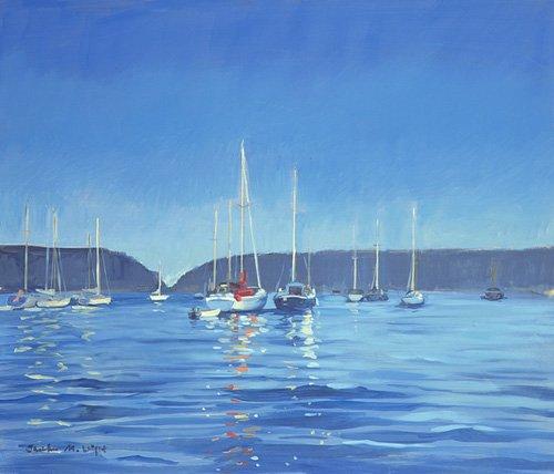 cuadros-de-marinas - Cuadro -  Salcombe - Yachts - Twilight (oil on canvas)  - - Wright, Jennifer