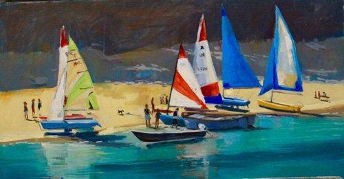 cuadros-de-marinas - Cuadro -  Salcombe Smalls Cove Dinghies  - - Wright, Jennifer