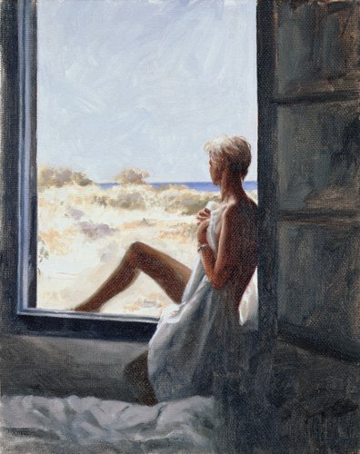 cuadros-de-desnudos - Cuadro - Blue Sea Dream (oil on canvas board) - - Worthington, John