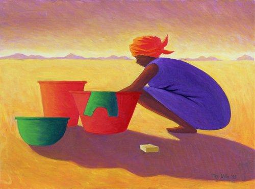 cuadros-etnicos-y-oriente - Cuadro - Washer Woman, 1999 (oil on canvas) - - Willis, Tilly