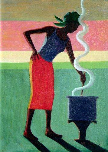 cuadros-etnicos-y-oriente - Cuadro - Cooking Rice, 2001 (oil on canvas) - - Willis, Tilly