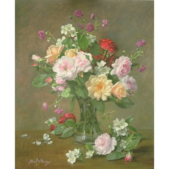 Cuadro - Roses and Gardenias in a glass vase (oil on canvas) -