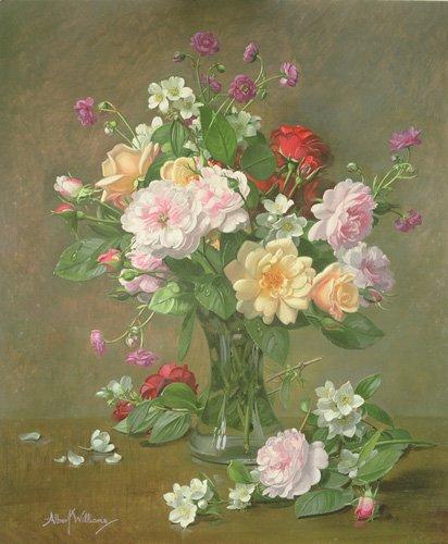 cuadros-de-flores - Cuadro - Roses and Gardenias in a glass vase (oil on canvas) - - Williams, Albert