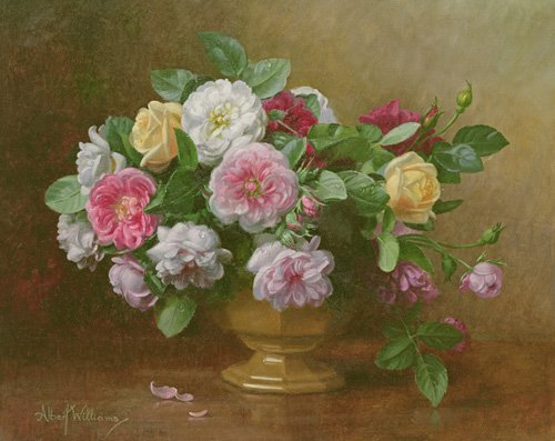 cuadros-de-flores - Cuadro - AB.119.2 A bowl of roses - - Williams, Albert