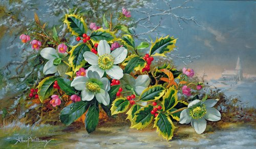 cuadros-de-flores - Cuadro - Winter roses in a landscape - - Williams, Albert