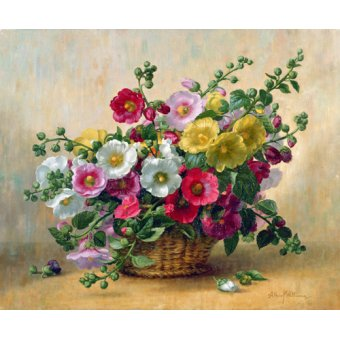 cuadros de flores - Cuadro - AB230 Hollyhocks in a Basket - - Williams, Albert