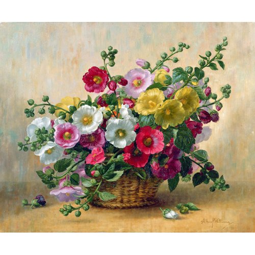 Cuadro - AB230 Hollyhocks in a Basket -