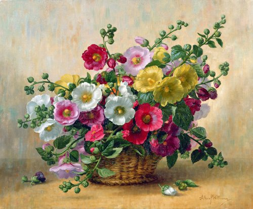 cuadros-de-flores - Cuadro - AB230 Hollyhocks in a Basket - - Williams, Albert