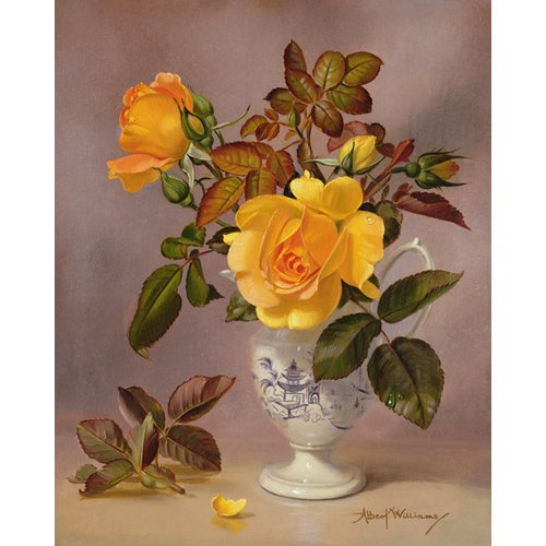Cuadro - Orange Roses in a blue and white jug (oil on canvas) -