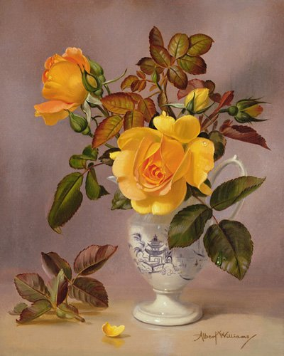 cuadros-de-flores - Cuadro - Orange Roses in a blue and white jug (oil on canvas) - - Williams, Albert