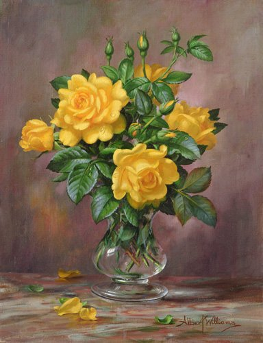 cuadros-de-flores - Cuadro - AB.303 Radiant Yellow Roses - - Williams, Albert