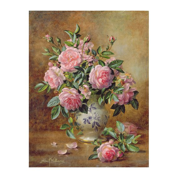Cuadro - A Medley of Pink Roses (oil on canvas) -