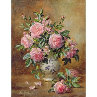 - Cuadro - A Medley of Pink Roses (oil on canvas) - - Williams, Albert