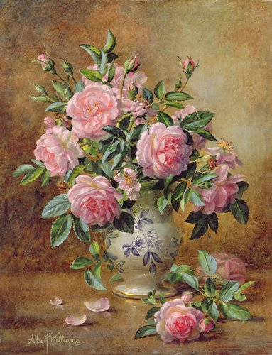 cuadros-de-flores - Cuadro - A Medley of Pink Roses (oil on canvas) - - Williams, Albert