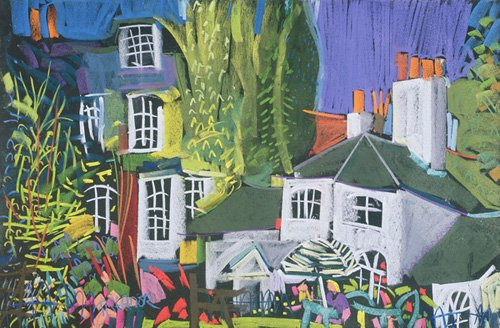 cuadros-de-paisajes - Cuadro - Time for Tea, Herb Garden in Greenwich Park (pastel on paper) - - Treanor, Frances