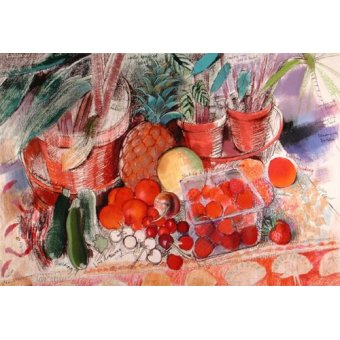 cuadros de bodegones - Cuadro - Summer Fruits (pastel on paper) - - Spencer, Claire