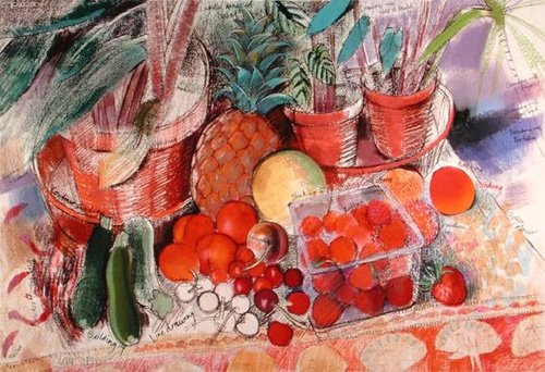 cuadros-de-bodegones - Cuadro - Summer Fruits (pastel on paper) - - Spencer, Claire