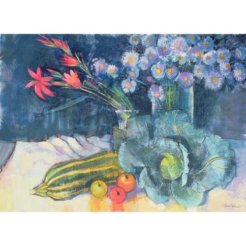 Cuadro - Still Life with Fruit and Flowers (mixed media) -